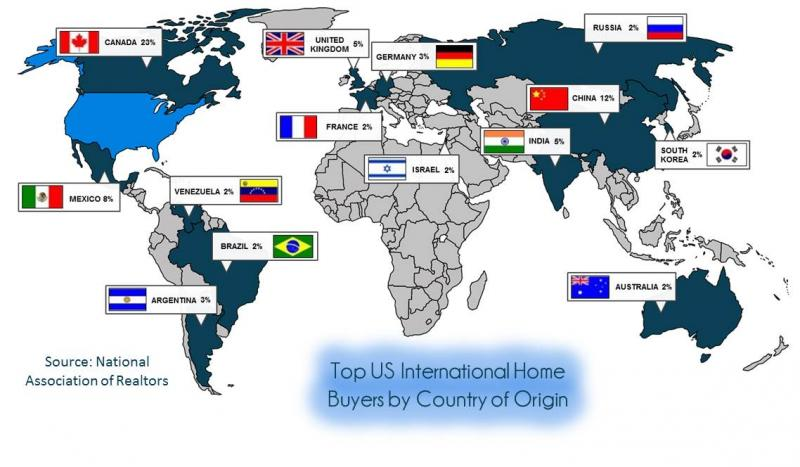 U.S. real estate map of foreign buyers